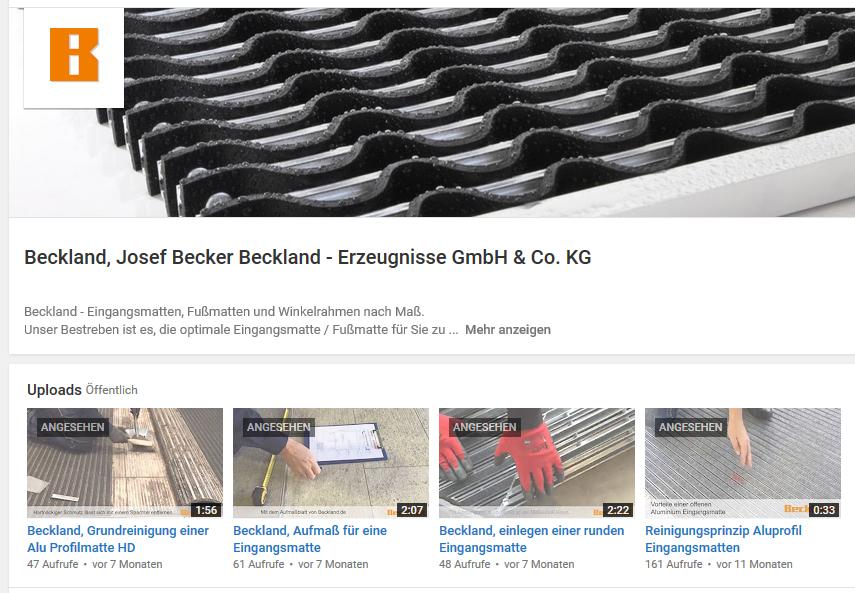 YouTube-Kanal Beckland Eingangsmatten