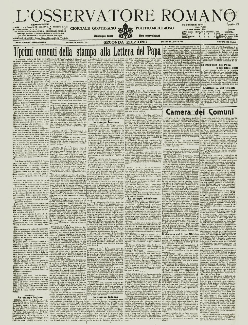 L'Osservatore Romano del 18 agosto 1917, che riporta le reazioni internazionali a una delle tante inascoltate proposte di pace avanzate dal Pontefice
