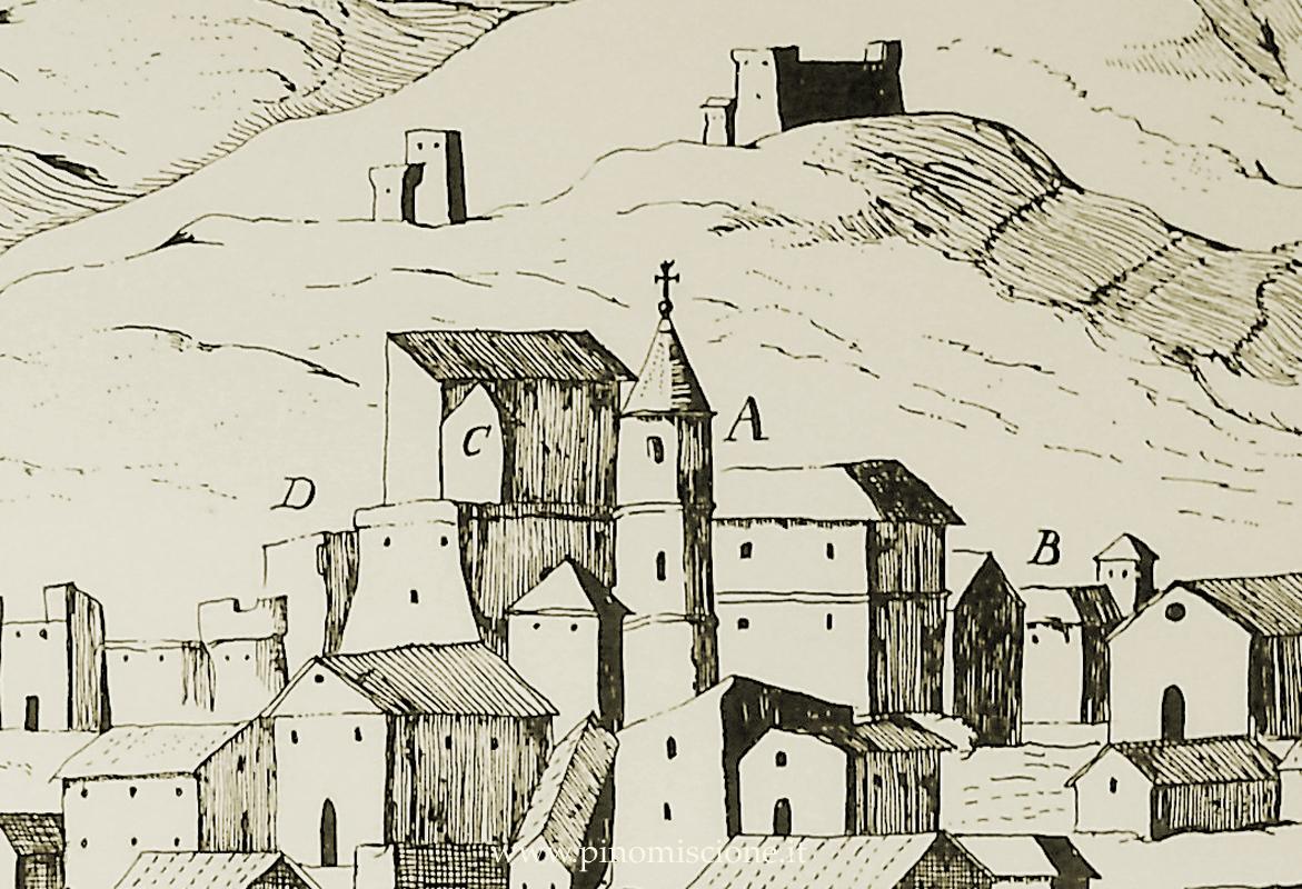 """G.B. PACICHELLI, particolare della Veduta di Larino in """"Il Regno di Napoli in prospettiva"""", III, Napoli 1703, incisione; il """"Convento de frati conventuali"""" è indicato con la lettera C, tra la Cattedrale (A) e il Palazzo vescovile (D)"""