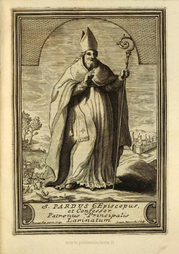 G. Petroschi S. Pardo vescovo incisione per libro del Tria
