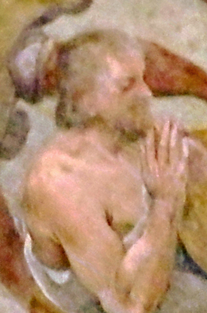 Notevole la somiglianza dei lineamenti del Santo, con quelli del simulacro ligneo di S. Primiano, venerato a Larino, scolpito oltre un secolo dopo; traccia certa di una consolidata tradizione iconografica, vecchia di secoli [foto Peppe Guida]