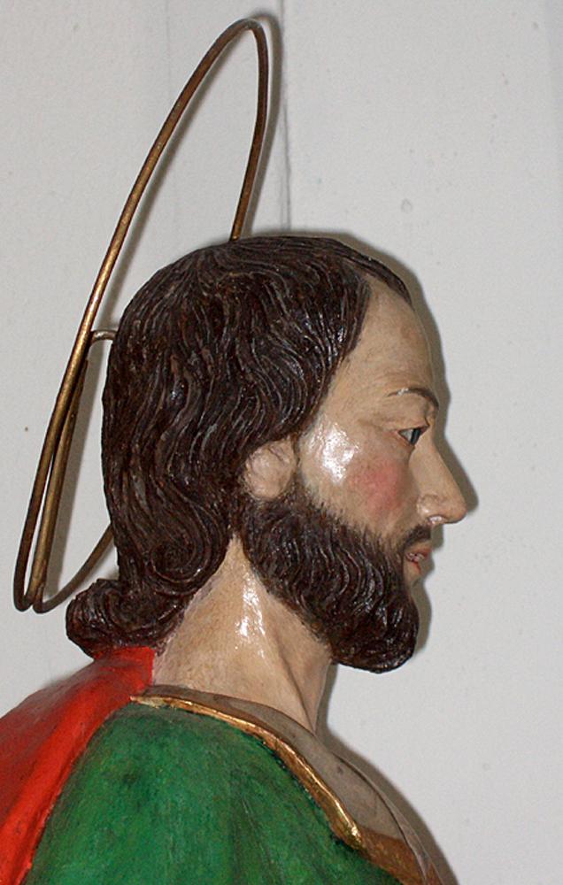 Testa della statua lignea di S. Primiano (primo terzo del XVIII sec.) [foto Miscione]