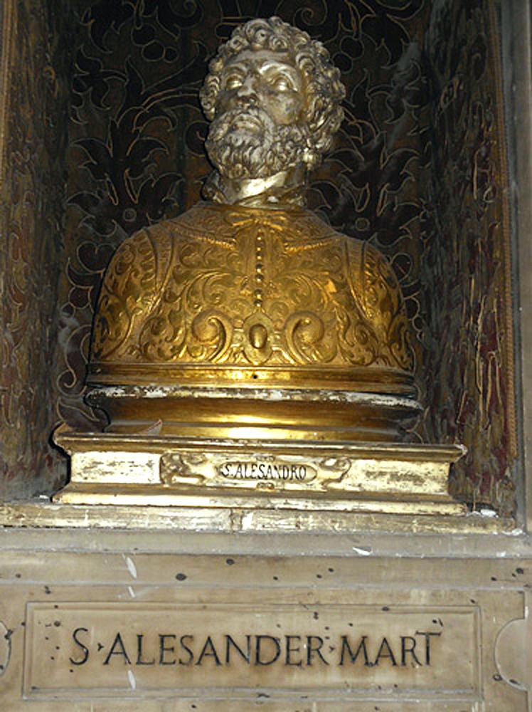 Busto-reliquiario di S. Primiano; continua il pasticcio con le scritte alle basi dei busti
