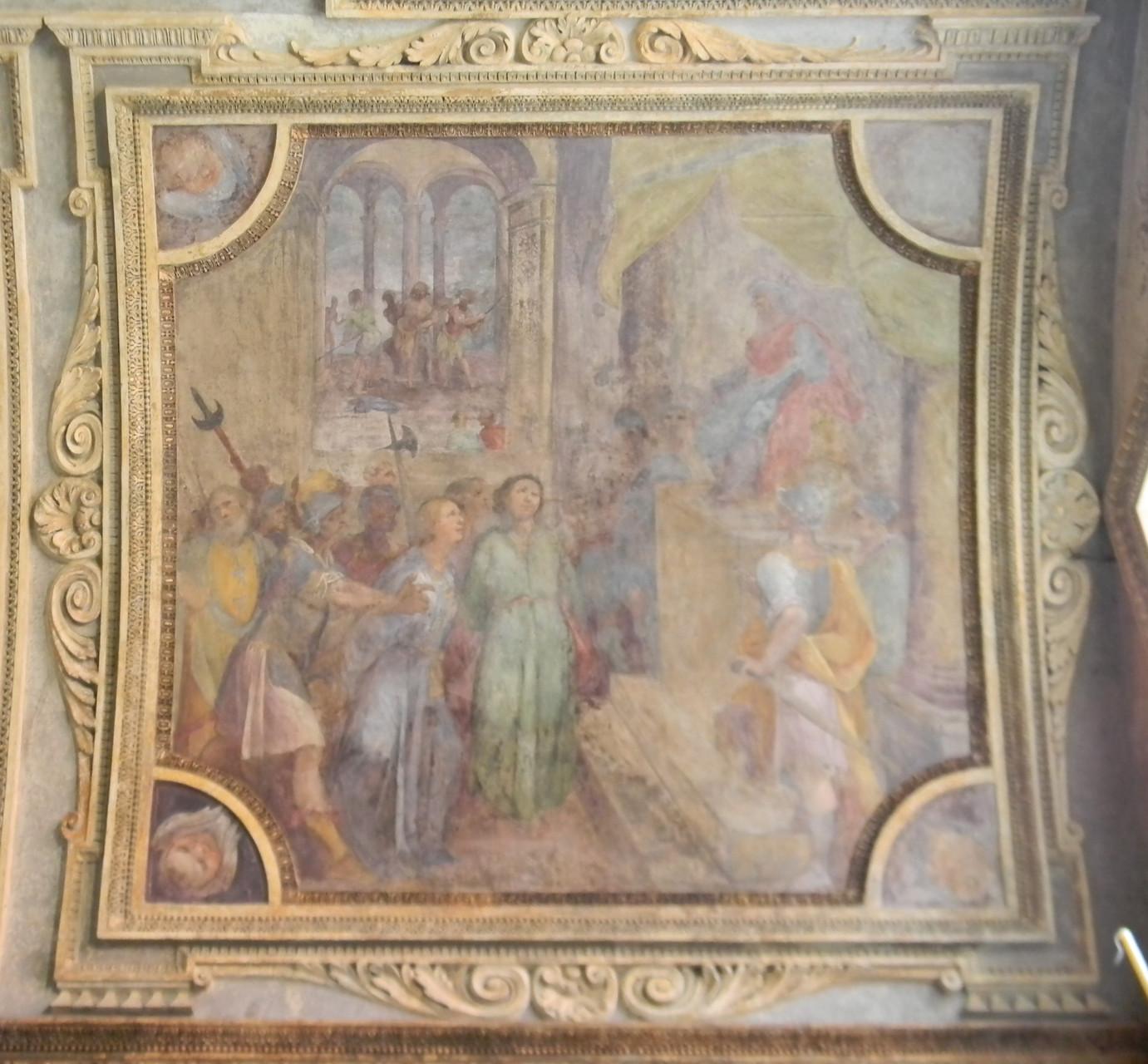 """B. CORENZIO-A. NUCCI-V. DE PINO, """"I SS Primiano e Firmiano condotti davanti al giudice"""" (1597-1599), affresco. Sullo sfondo, la flagellazione dei due Santi [foto Peppe Guida]"""