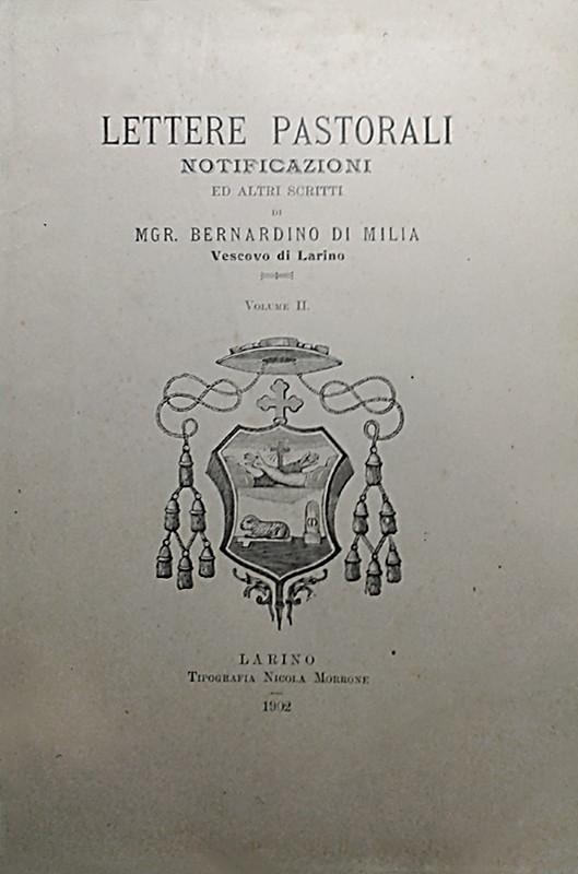"""Copertina di alcune """"Lettere pastorali, notificazioni ed altri scritti"""" editi a Larino nel 1902"""