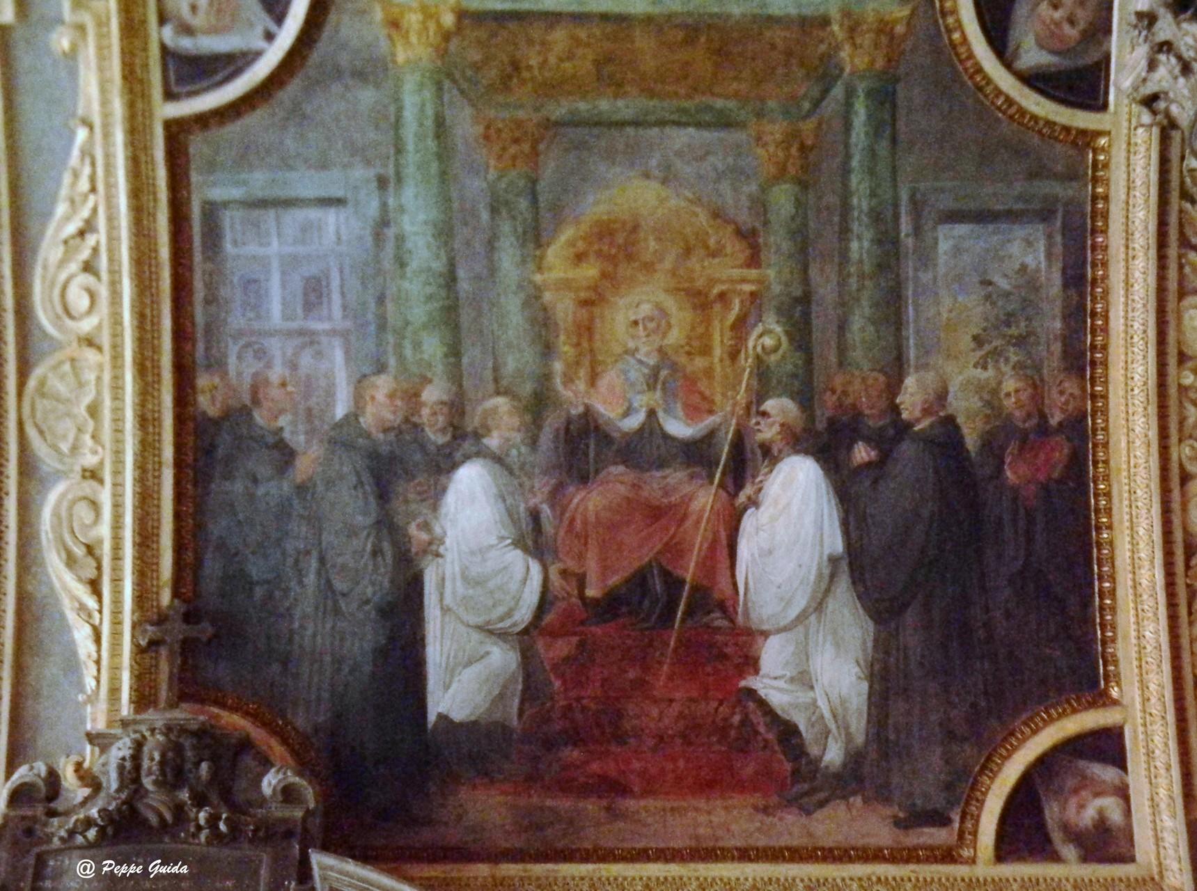 B. CORENZIO-A. NUCCI-V. DE PINO, S. Pascasio in sedia abadiale, circondato dai suoi frati (1597-1599), affresco [foto Peppe Guida]