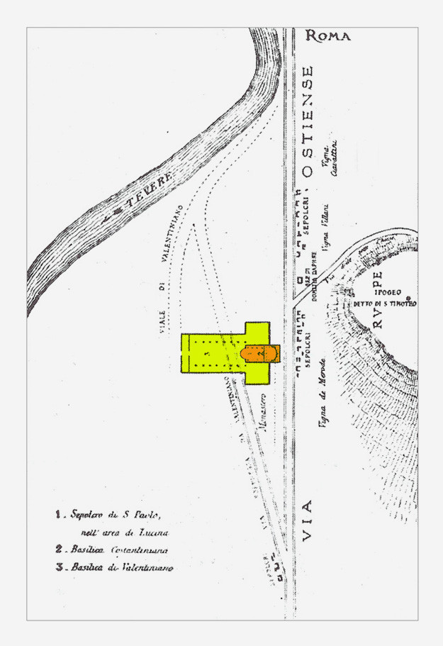 Planimetria Via Ostiense, basilica S. Paolo f.l.m.