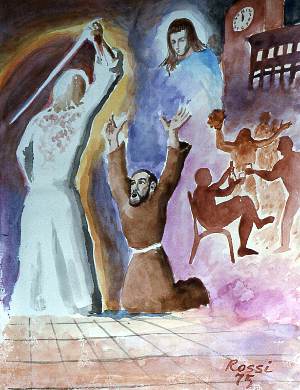 F. ROSSI, Estasi di Padre Pio del 3 dicembre 1911 (1975), acquerello. Venafro, convento di S. Nicandro