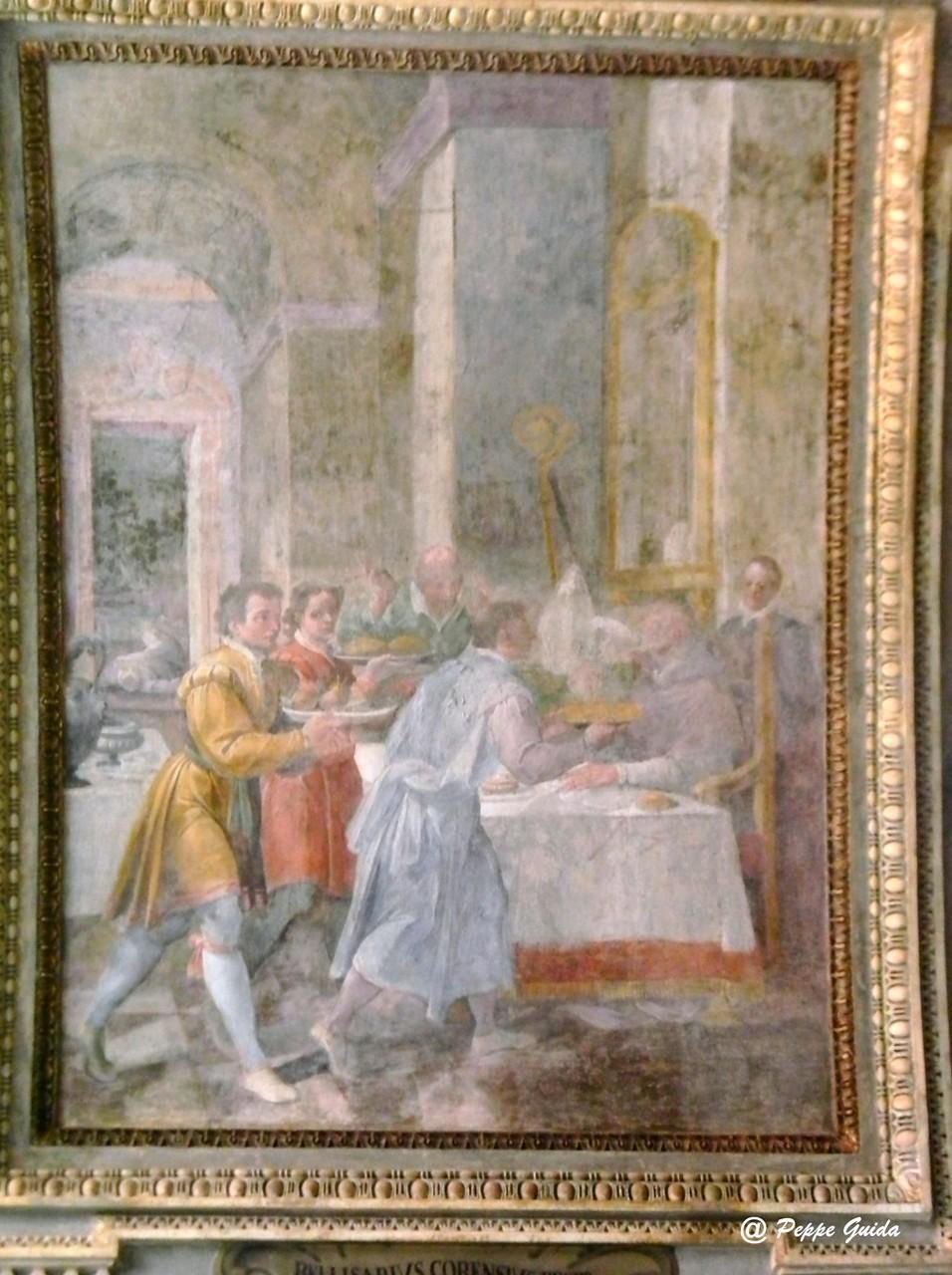 B. CORENZIO-A. NUCCI-V. DE PINO, S. Sabino che beve innocuamente il veleno (1597-1599), affresco [foto Peppe Guida]