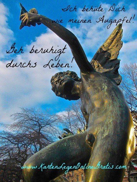 Schutzengel Geborgenheit Zitat mit Bild und Engelkarten legen