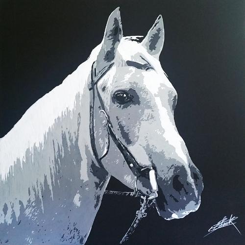 Peinture contemporaine par le peintre erik black représentant une tête de cheval - acrylique sur toile