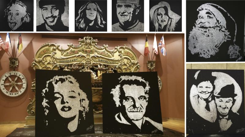 portraits de célébrités en colle et paillettes - réalisation en direct pour mariage, inauguration, convention et séminaire