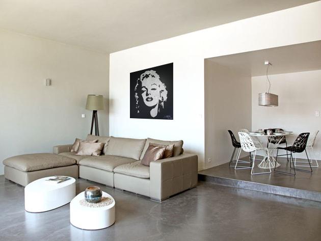 Portrait paillettes de Marilyn Monroe e décoration dans un salon - idée décoration intérieure