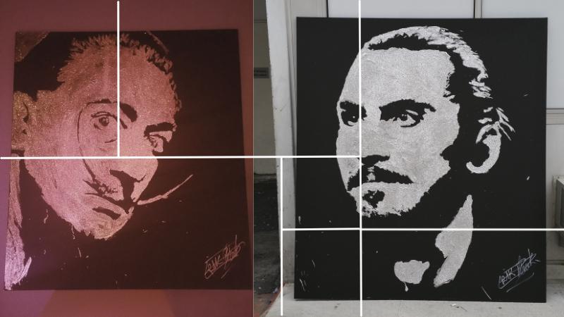 salvador dali et zlatan ibrahimovic en colle et paillettes pour spectacle sur scène par le peintre performer erik black