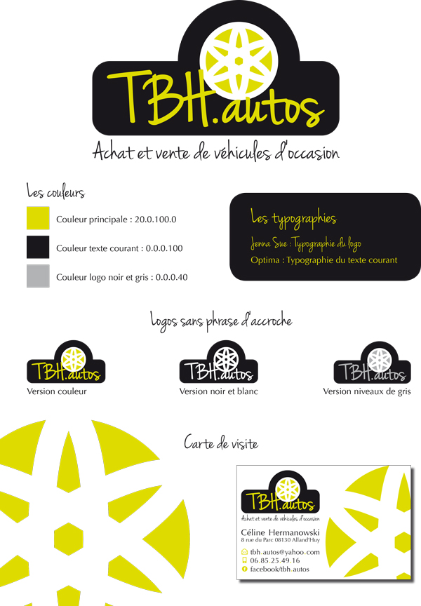 Deuxième proposition de logo et carte de visite pour la société TBH autos.