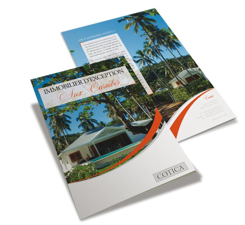 Tryptique réalisé dans le cadre de ma formation, pour Cotica, vendeur immobilier de Luxe aux Caraïbes.