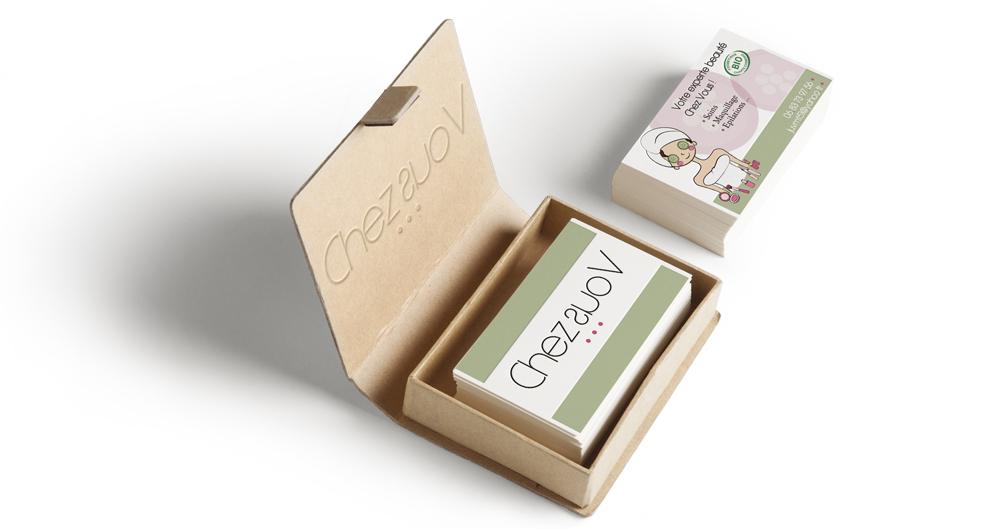 """Logo / Cartes de visite créés pour la société """"Chez Vous"""", esthéticienne à domicile."""