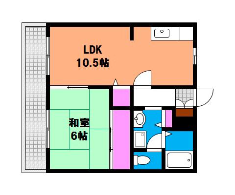 岡山市北区西崎本町の賃貸物件 間取り図