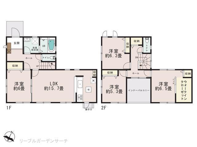 岡山市中区山崎の新築 一戸建て分譲住宅の間取り図