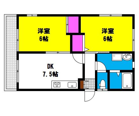 岡山県岡山市北区新屋敷町の賃貸物件 間取り図