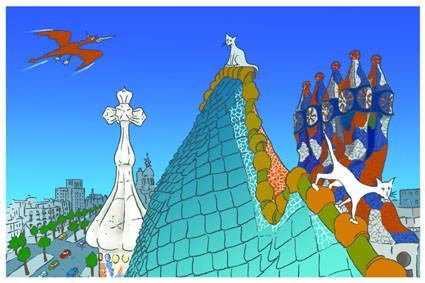 Postal Terrado Casa Batlló. Gaudí. Barcelona. Para Lavistalegre postales.Set de 16 (selección)