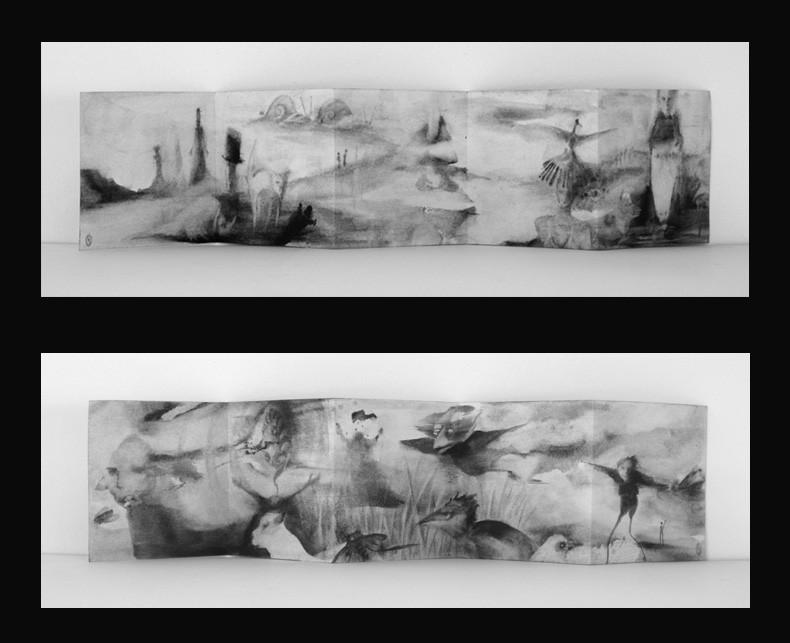 10 páginas. original. acrílico sobre papel. (14x14) desplegado (14x70) 2012
