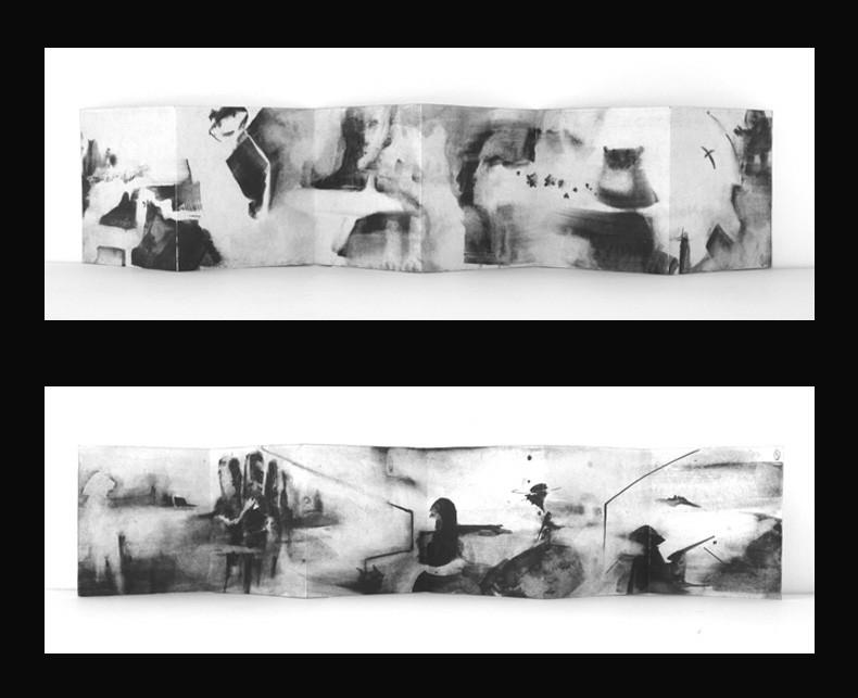 12 páginas. original. acrílico sobre papel. (15x15) desplegado (15x90) 2012