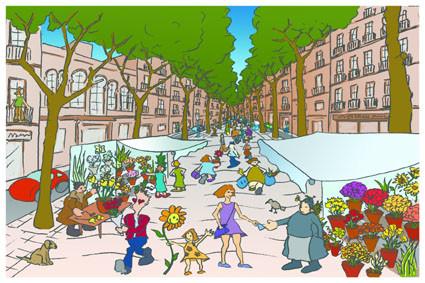 Postal Rambla de las Flores. Barcelona. Para Lavistalegre postales.Set de 16 (selección)