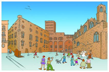 Postal Plaza del Rey. Barcelona. Para Lavistalegre postales.Set de 16 (selección)