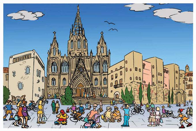 Postal Plaza de la Catedral. Barcelona. Para Lavistalegre postales.Set de 16 (selección)