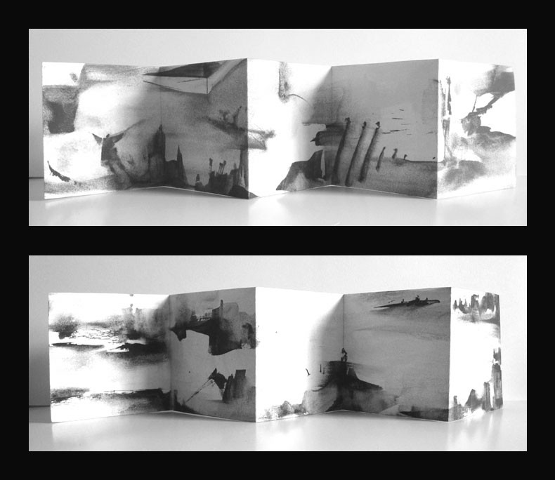 10 páginas. original. acrílico sobre papel. (14x14) desplegado (14x70) 2013