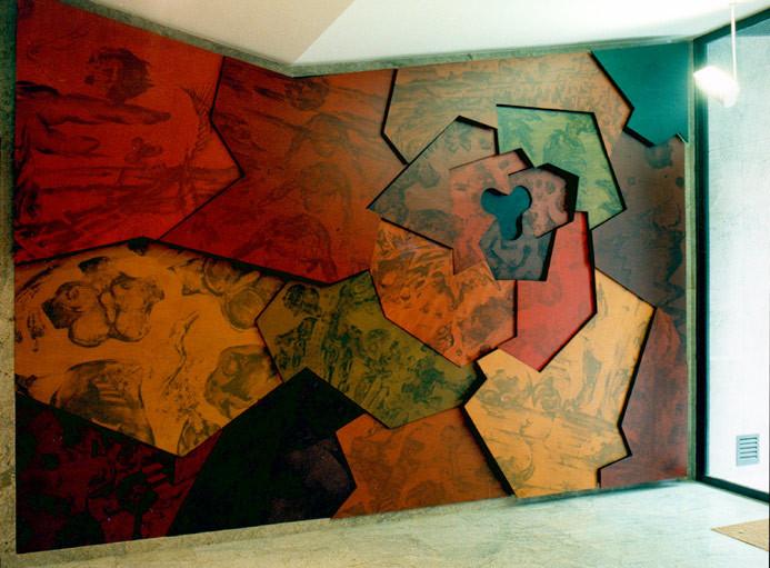 Vestibulo en edificio de viviendas. Girona ciudad. Acrílico sobre madera. (450x300)