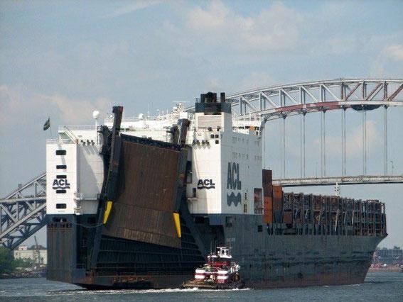 Das Frachtschiff mit unserem Jolly Sprinter auf dem Weg nach Baltimore