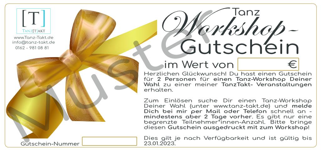 Gutschein für Tanz-Workshop Deiner Wahl zur Tanz-Takt-Veranstaltung für 1 oder 2 Personen