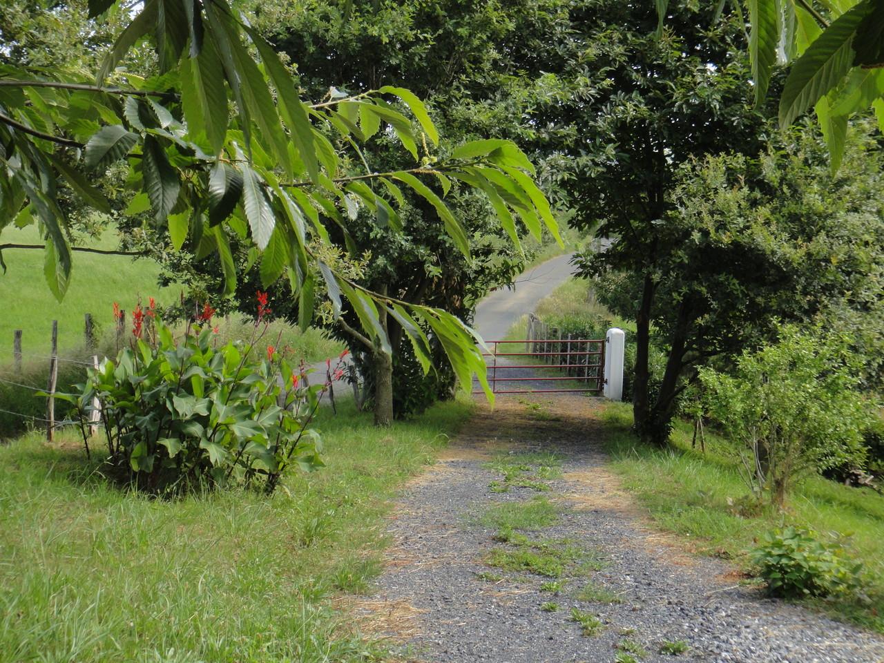 Le chemin d'entrée en sortant vers le portail