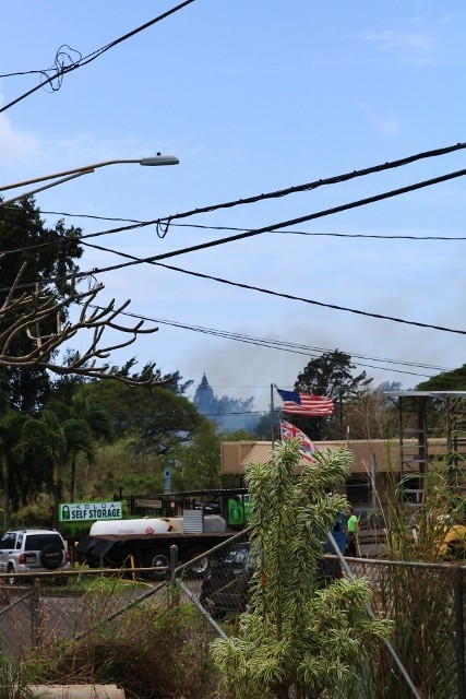 Around noon time when I was about to start a service on April 2nd, 2015, I saw smoke at Koloa and fire trucks came to extinguish fire.
