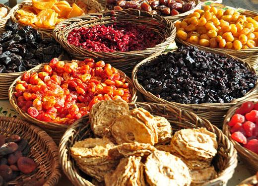 Getrocknete Ananas, Tamarillo, Cranberry, Sauerkirschen, Kumquats
