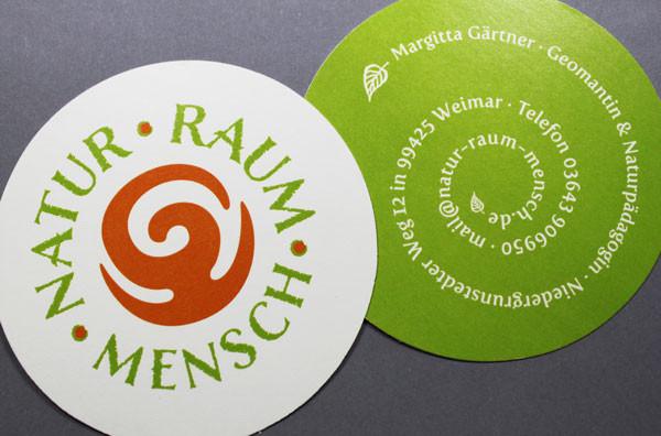 Kreisrunde Visitenkarten Naturpapier