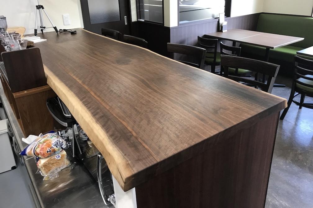 ブラックウォールナット 一枚板 カウンターテーブル