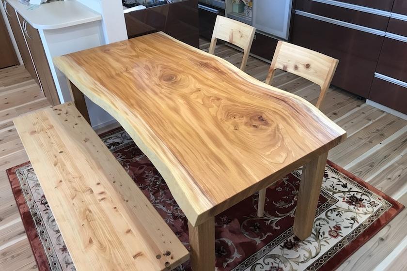 欅 一枚板 テーブル 広島