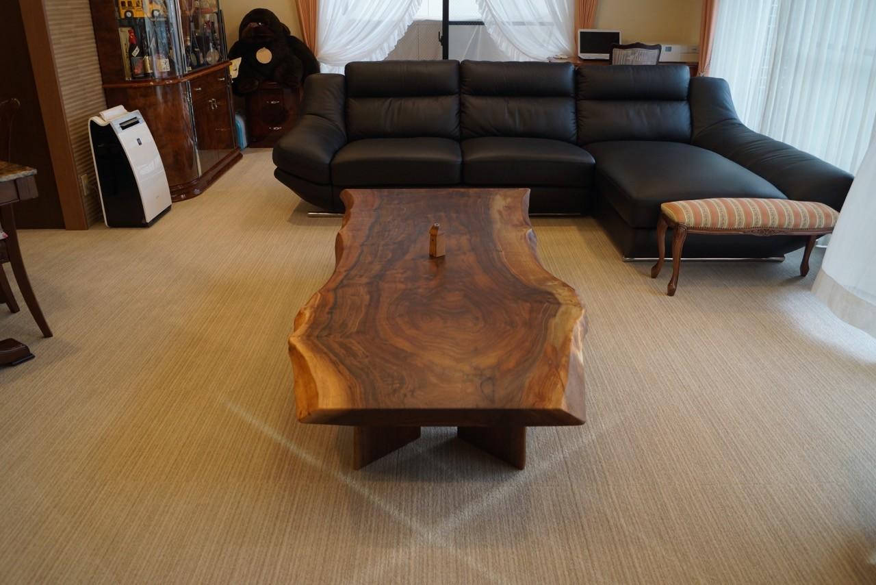 センターテーブル オレゴンブラックウォールナット 一枚板
