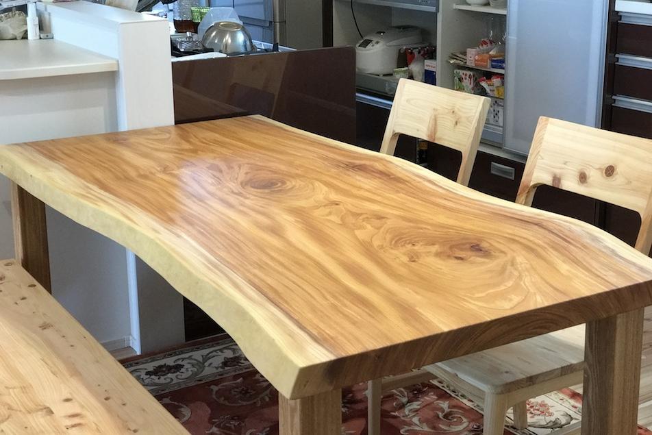 ケヤキ 一枚板 テーブル 広島