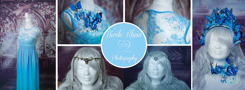 Blaues Kleid - Schmetterlings Headpiece mit Kragen - Elfen Tiaras und Perücke