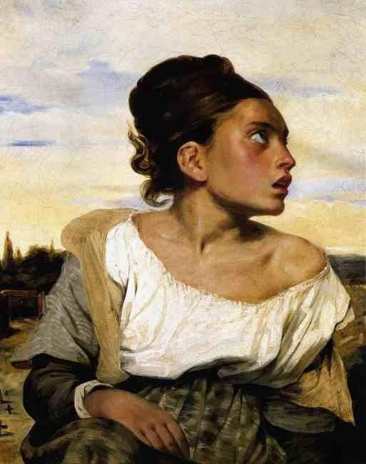 Девушка сидящая на кладбище. 1824