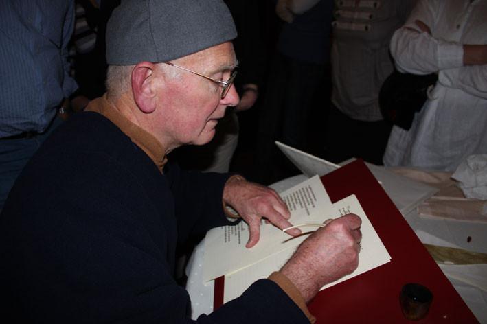 Der Schreiber vom Hansevolk während der Hanse-Tafel