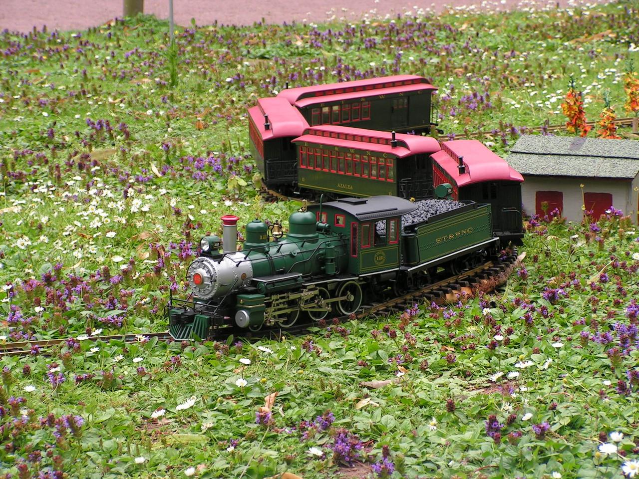 Anmutig schlängelt sich der Personenzug durch die Landschaft