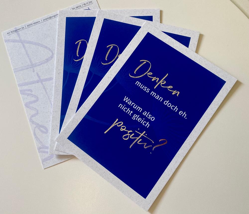 Postkarte - Fachpraxis AngstfreiAtmen Idstein   Psychotherapie mit der Kognitiven Verhaltenstherapie (piKVT)   Denken wir einfach positiver und lenken Negatives um