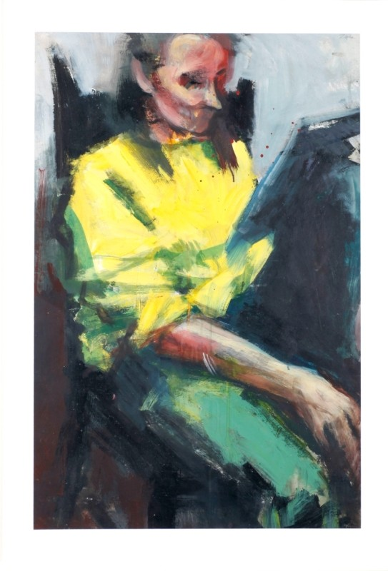 """Dame in Gelb"", Acryl auf Papier, 87 cm x 58 cm"
