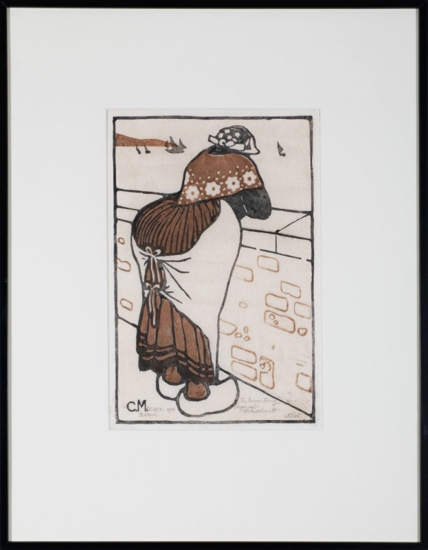 """In Erwartung"", Farbholzschnitt, 35 cm x 23 cm"