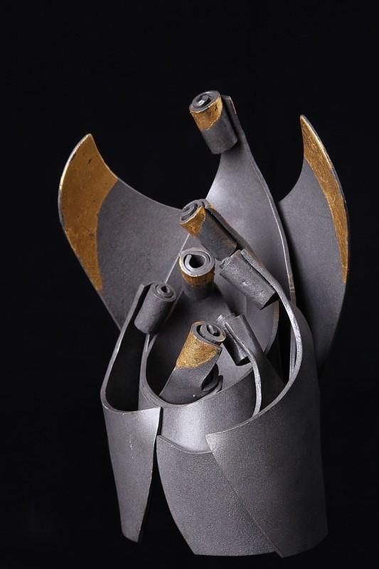 Krippe, Eisen geschmiedet mit Blattgold, Höhe 23 cm